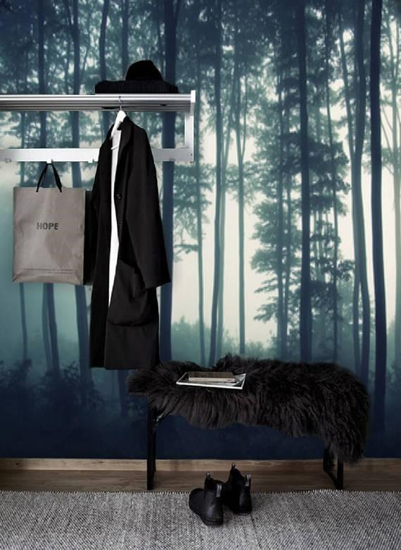 Zelfklevend behang XL Bomen groen -