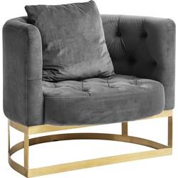 Nordal fauteuil grijs velvet met gouden frame