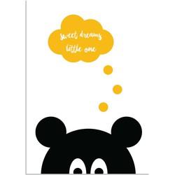 Sweet Dreams Little One - Beer - Zwart Gee Kinderposter - A4 poster zonder fotolijst