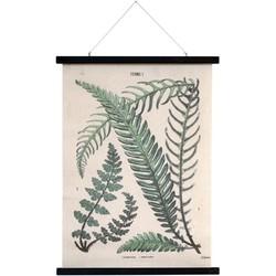 HK-living schoolplaat botanisch geprint met varens katoen L 55x75x2,5cm