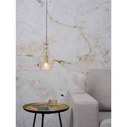 Hanglamp glas Brussels transparant/goud, rechtvormig