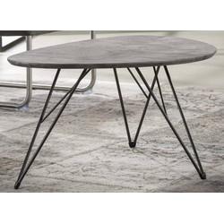 Salontafel - MDF-blad - grijze betonlook - 3D texture - niervormig - 90x60cm - pootjes zwart gepoedercoat metaal