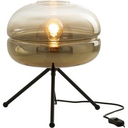 UFO – Tafellamp – vintage design – glazen kap – rond – metalen driepikkel