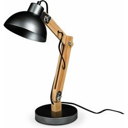 Lanterfant® Lamp Martijn - Bureaulamp - Hout- Staal - Donkergrijs