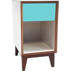 PIX nachtkastje groot met wit frame en donker turquoise voorkant