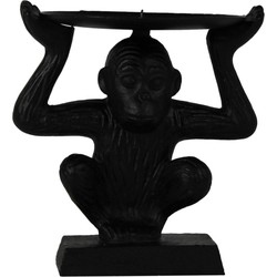 Aap kaarshouder 'Lift the the monkey'-12x14cm-Polyresin-Zwart-Housevitamin