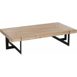 Industry Incised - Salontafel - rechthoek - houten blad - ingesneden frame - smeedijzer - 150x80x35cm