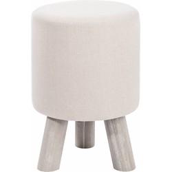 Poef - set van 2 - rond - beige - katoen - met knopen - houten poten - 30x30x44cm
