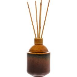 HK-living vaasje keramiek bruin + geurstokjes clean basil HK.5