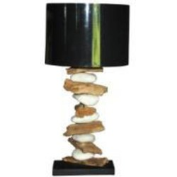 Teak & Living Lamp Wood/Stone. Zwarte kap.