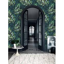 Vliesbehang Botanische bladeren groen zwart 60x275 cm
