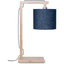 Tafellamp Himalaya bamboe, linnen blue denim