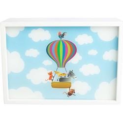 Wandlamp Rechthoekig Luchtballon Wit Hout - Limundo