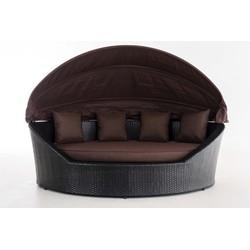 24Designs Ovaal Lounge Ligbed Santorini - Zwart Vlechtwerk - Bruine Kussens