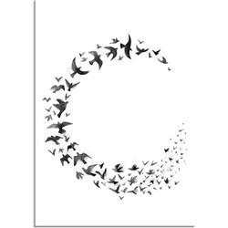 Zwerm vogels poster - Waterverf stijl - Interieur poster - Zwart wit poster - Cirkel - A3 + Fotolijst zwart