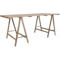HK-living tafel op schragen werktafel teak hout 180x80x76cm
