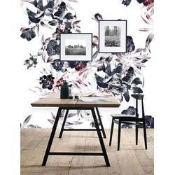 Zelfklevend behang XL Bloemen grijs roze 300x250 cm