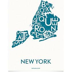 Kortkartellet Poster New York City 50 x 70 cm - Petrol Blauw