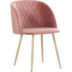 Makro stoel - roze velours - set van 2