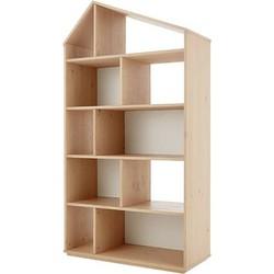 Skyline brede boekenkast, dennenhout en wit