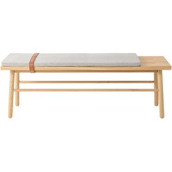 Bloomingville Straight Bench - With cushion and leather strap - W 120 cm. Brown,Grey,Natural wood