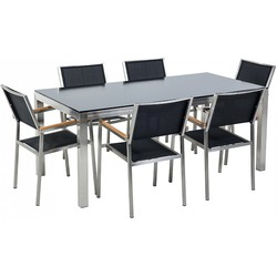 Tuinmeubel set glasplaat zwart 180 x 90 cm 6 stoelen gespannen textiel zwart GROSSETO