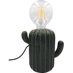 Cactus Lamp-15x16cm-Incl. gloeilamp-Keramiek-Donker Groen-Housevitamin