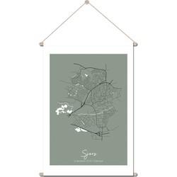 Geboorteposter Textielposter Kraamcadeau DesignClaud - Plattegrond geboorteplaats - Kaki groen - 30 x 45 cm