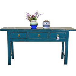 Fine Asianliving [PREORDER WEEK 48] Antique Chinese Sidetable Hand Painted Teal - Guilin