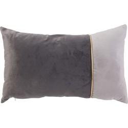 Fluwelen Sierkussen Bicolor – Grijs – Velvet – 30 x 50 cm (incl. vulling)