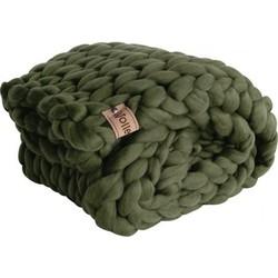 Plaid Mosgroen (biologische wol) - Maat loper - Egaal