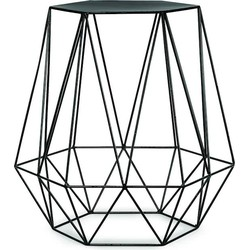 Bijzettafel ijzerdraad 6-hoek/diamant - zwart