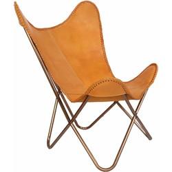 Mycha Ibiza Vlinderstoel – camel bruin – leren stoel – Butterflychair  - Fauteuil  - 09