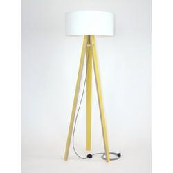 Lamp Wanda geel multiplex met witte kap en zig zag kabel