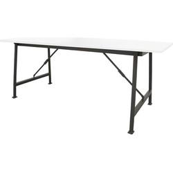 HK-living bureautafel metaal/hout wit inklapbaar