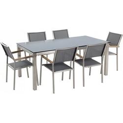 Tuinmeubel set zwart glasplaat 180 x 90 cm 6 stoelen met gespannen textiel grijs GROSSETO