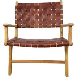Loungestoel met armleuning - leder/teak - cognac