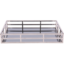 Dienblad Pacific glans chroom + zwart glas