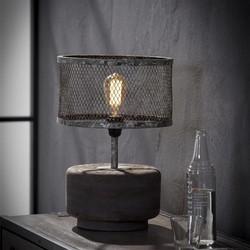 Tafellamp massief houten voet rond / Verweerd koper