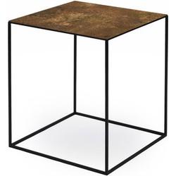 Zeus Slim Irony ART Coffee table - 41 x 41 cm x H 46 cm. Copper black,Used rust