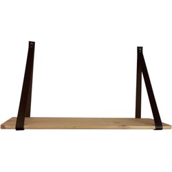 Wandplank Zwart Metaal Hout.Wandplank Hout 70 Cm Leren Straps Housevitamin