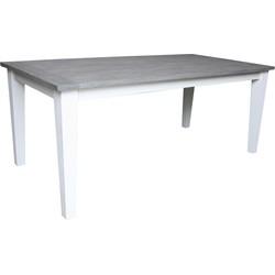 Tafel Toronto - 180x90 cm - wit/grey wash - java mix wood
