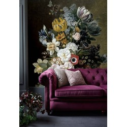 Vliesbehang bloemen zwart vintage geel 250x250cm