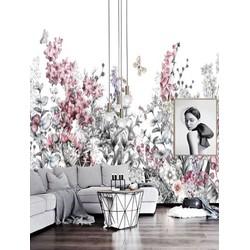 Zeflklevend behang XL Kruipende bloemen
