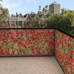 balkonafscheiding rode tulpen (100x150cm Dubbelzijdig)