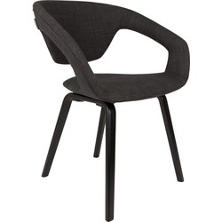 Zuiver eetkamerstoel Flexback Polyester zwart grijs 79 x 64 x 57
