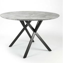 Eettafel - rond -dia 120 cm - 3D betonlook grijs - zwart gepoedercoat metalen frame