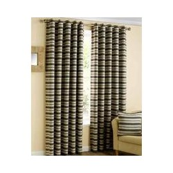 Striped Charcoal and Beige Ready Made Eyelet Curtain Pair 90x90""