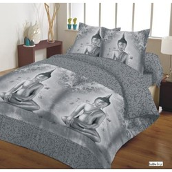 Swissation Dekbedovertrek Grey Buddha Maat: 1-persoons (140 x 200/220 cm + 1 kussenslopen)
