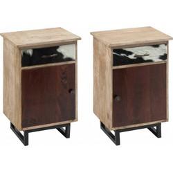 Ethnic - Nachtkastjes - set van 2 - links & rechts - 1 deur - 1 lade - koevel deco - massief hout - multicolor